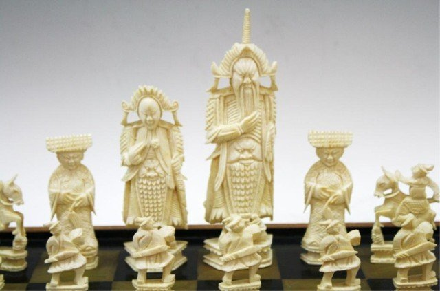 Chinese Antique Ivory Chess Set - 10