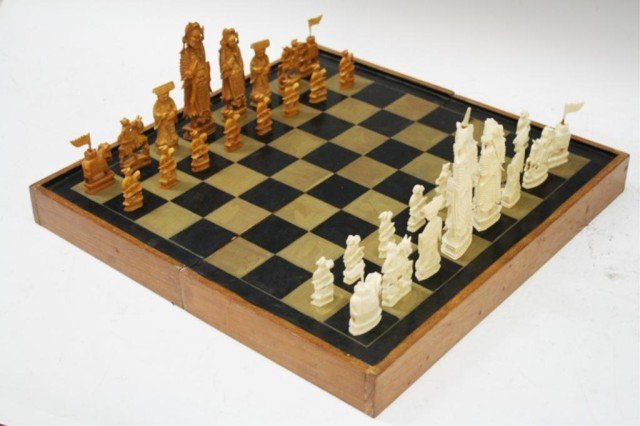 Chinese Antique Ivory Chess Set