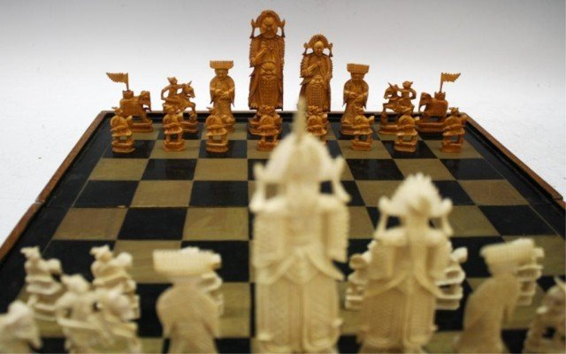 Chinese Antique Ivory Chess Set - 6