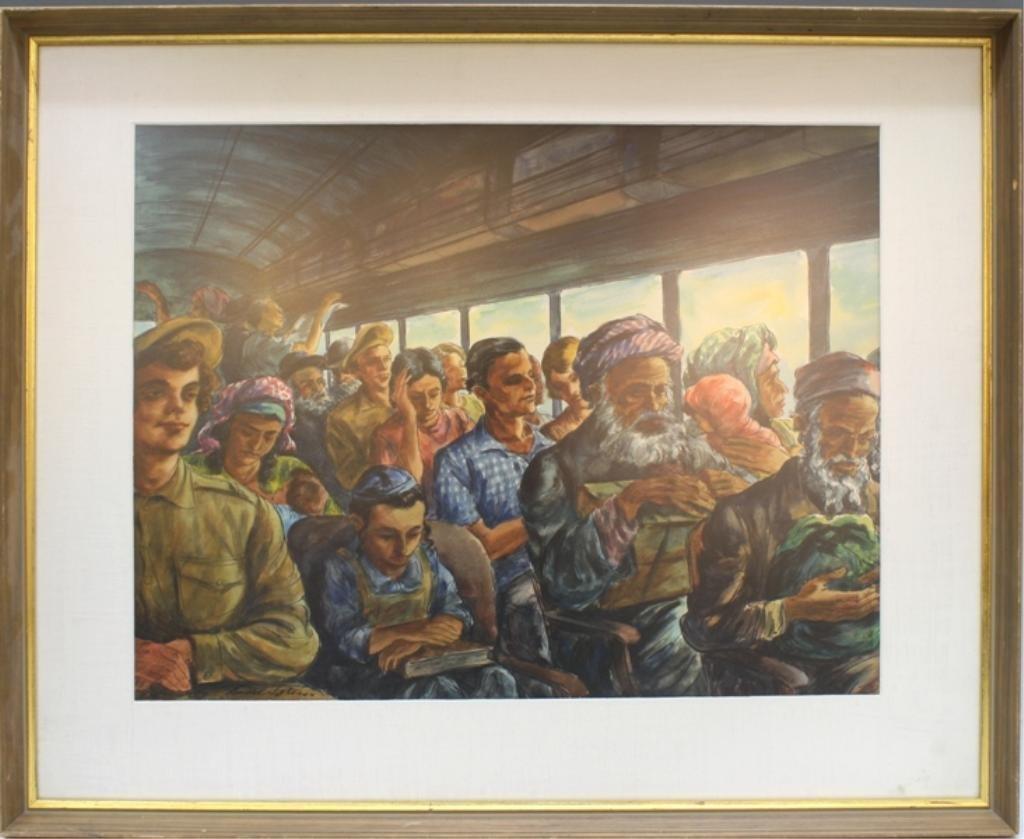 "Lionel Reiss ""Bus Passenger- Israel"" Watercolor"