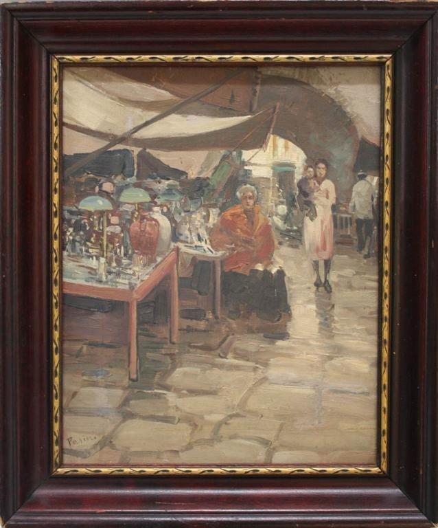 Italian Lazzaro Pasini Antique Market Oil Painting