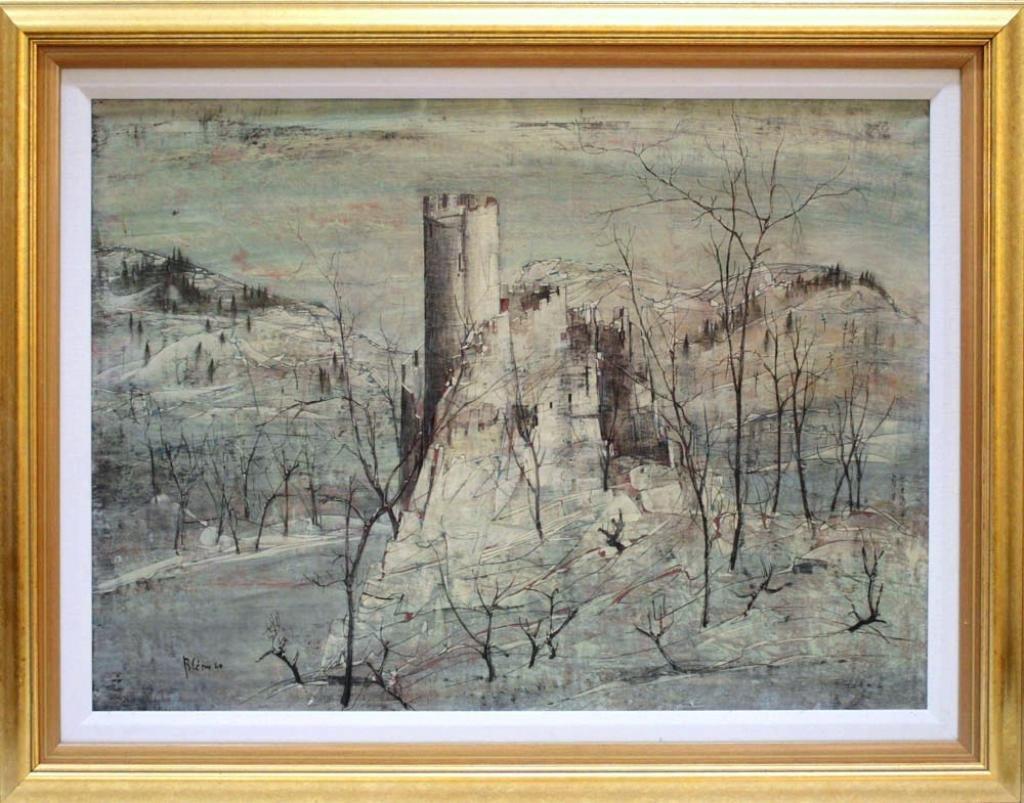 Castle Winter Landscape Oil Painting, Signed Blery