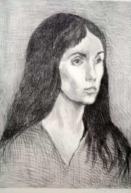 """Raphael Soyer """"Black Hair"""" Lithograph A.P."""