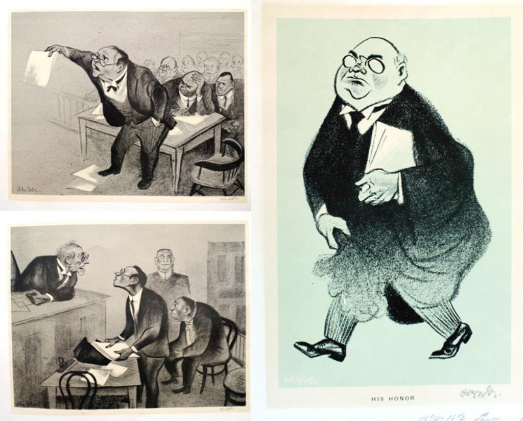 Lot of 3 William Gropper Court Scene Lithographs