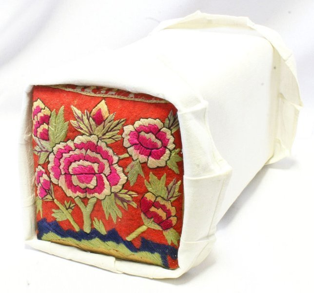 19th C. Korean Pillow Embroidered with Peonies