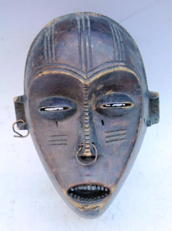 Wooden African Mask with Earring and Nose Ring