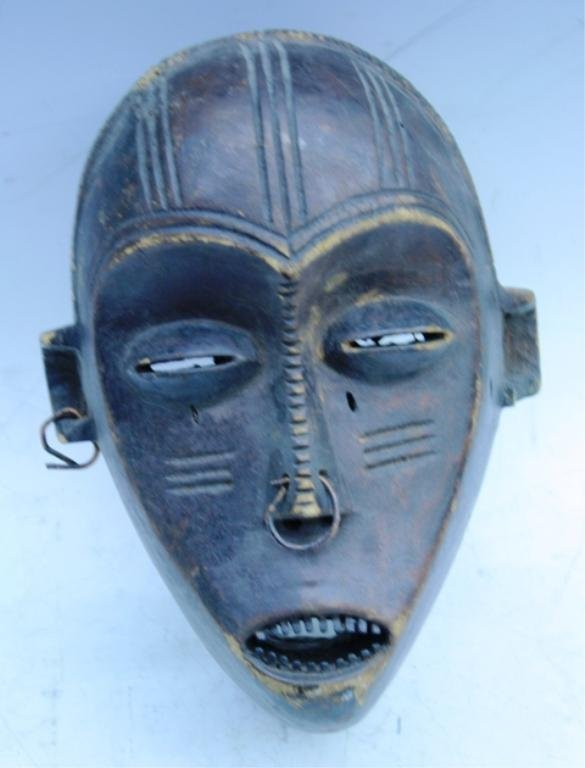 Wooden African Mask with Earring and Nose Ring - 2