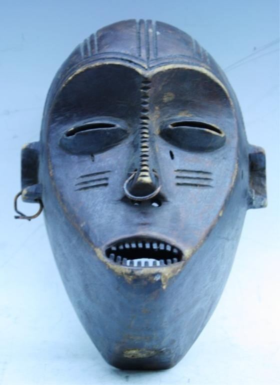 Wooden African Mask with Earring and Nose Ring - 3