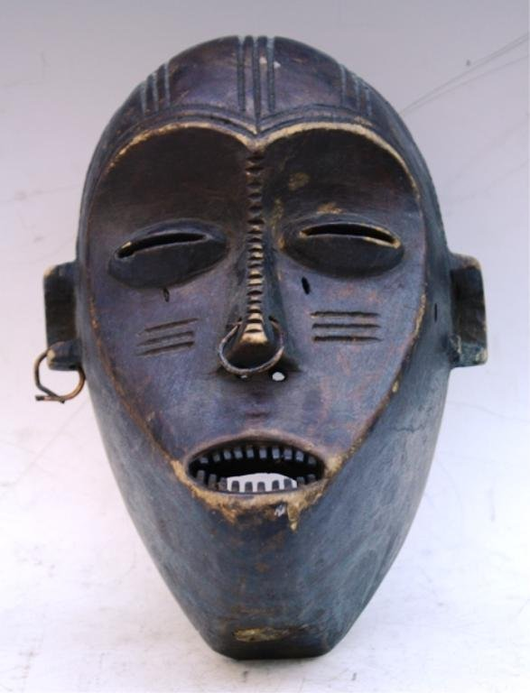 Wooden African Mask with Earring and Nose Ring - 4