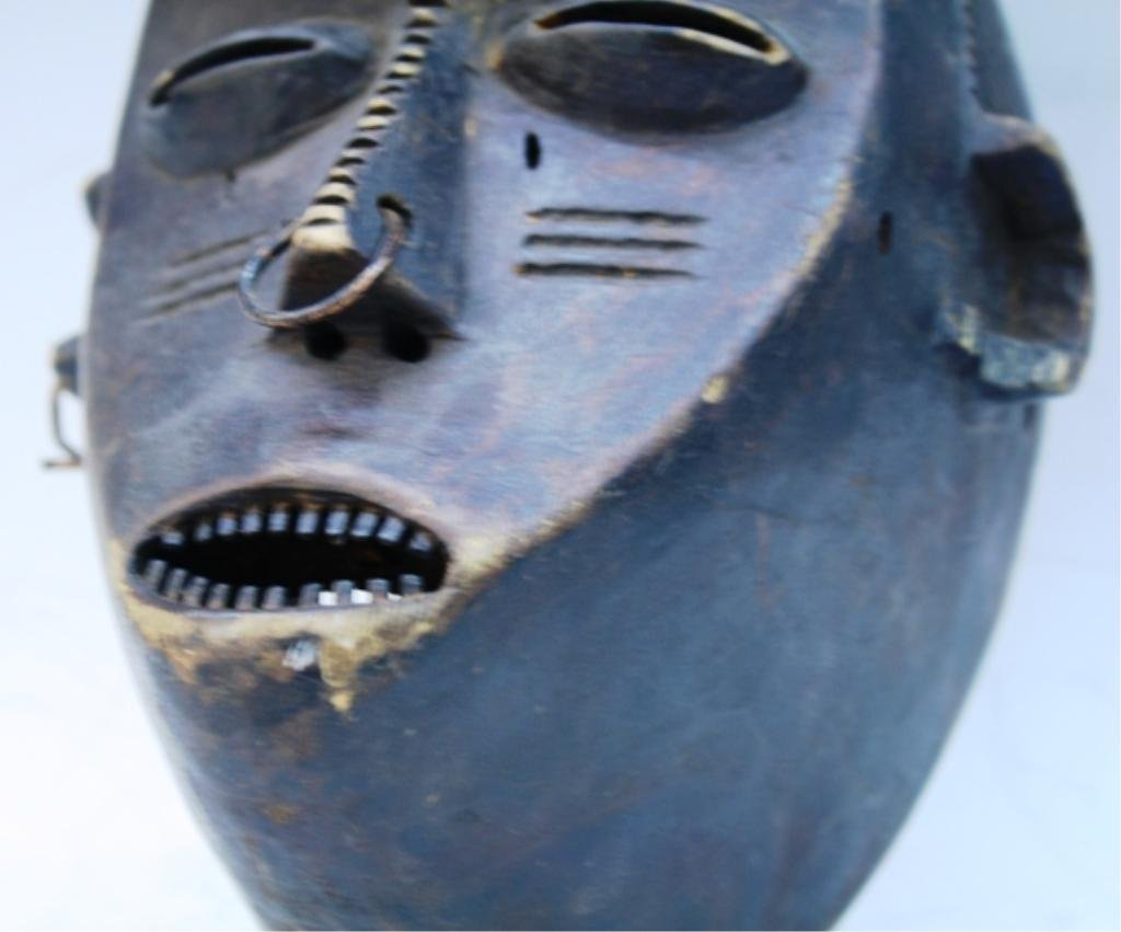 Wooden African Mask with Earring and Nose Ring - 5