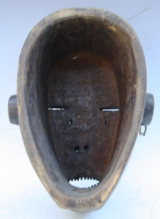 Wooden African Mask with Earring and Nose Ring - 7
