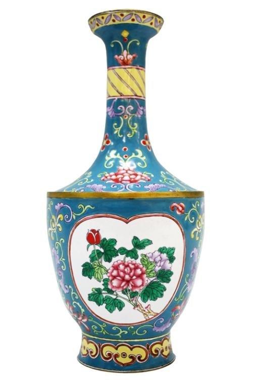 Chinese Canton Enamel Vase w/ Flowers