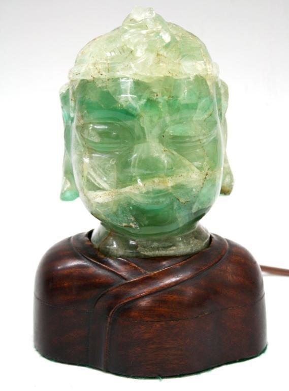 Fluorite Carved Buddha Lamp c. 1900