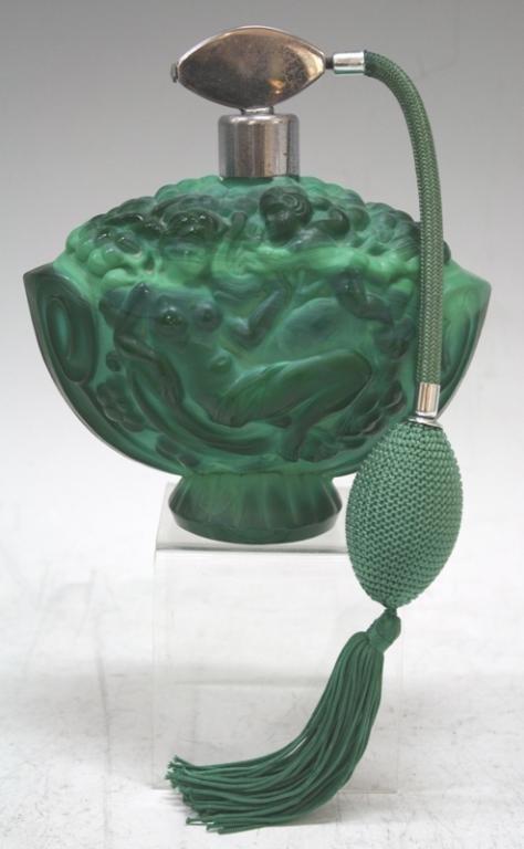 Czech Deco Malachite Glass Perfume Bottle 1930s