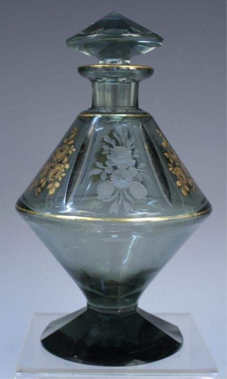 Czech Etched & Gilded Scent Bottle c 1930s/40s