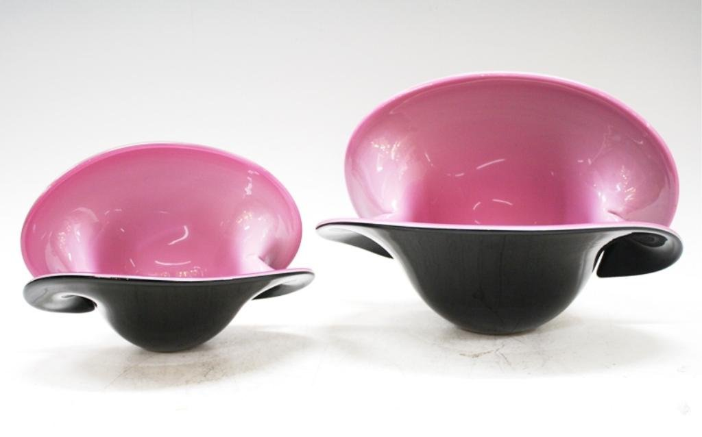 Pair of Large Murano Glass Clam Vases