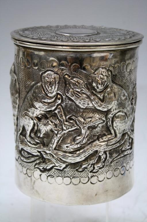 Silver Plated Monkey Tea Caddy
