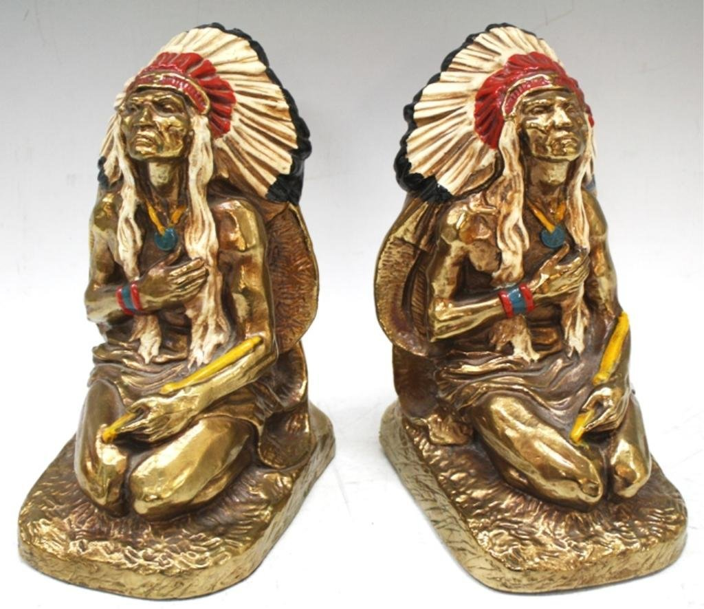 Pair of Marion Bronze American Indian Bookends