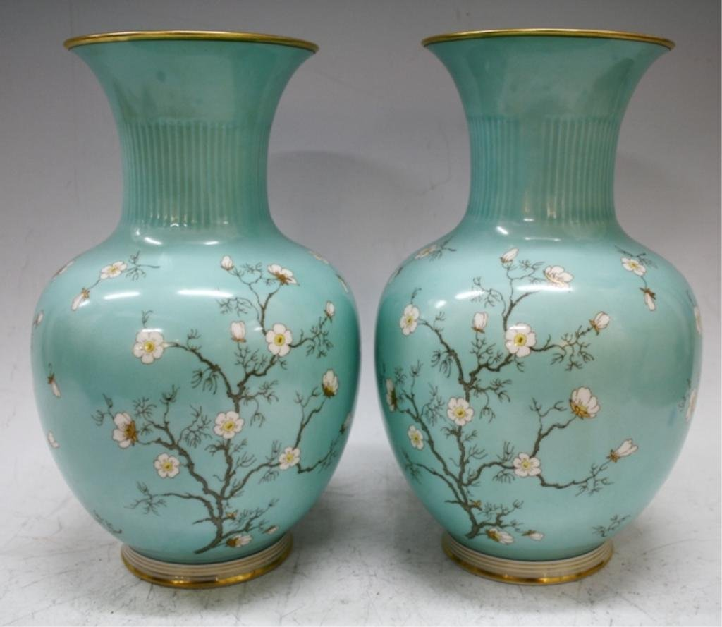 Pair of German Hertel-Jacob Bavaria Vases - 4