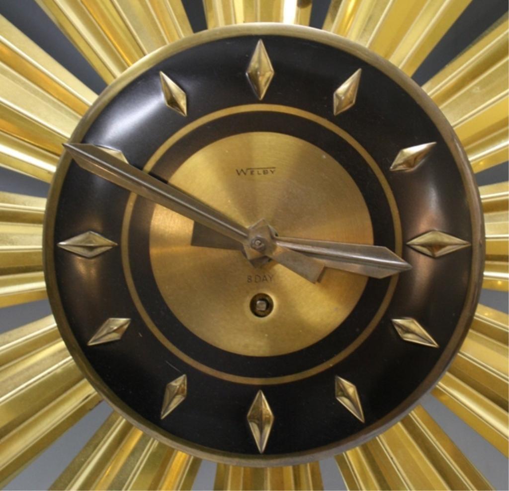Mid Century Welby Sunburst Clock - 5