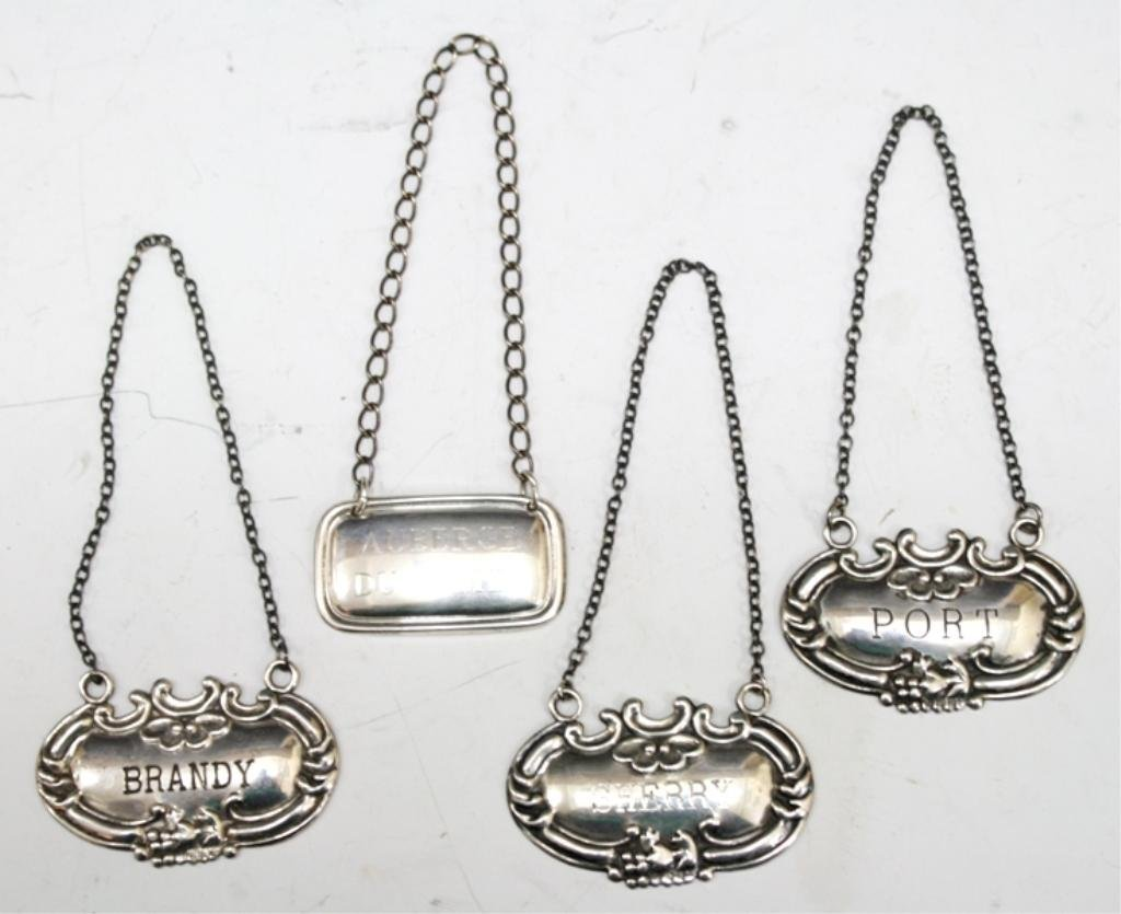 4 Vintage Sterling Silver Decanter Tags