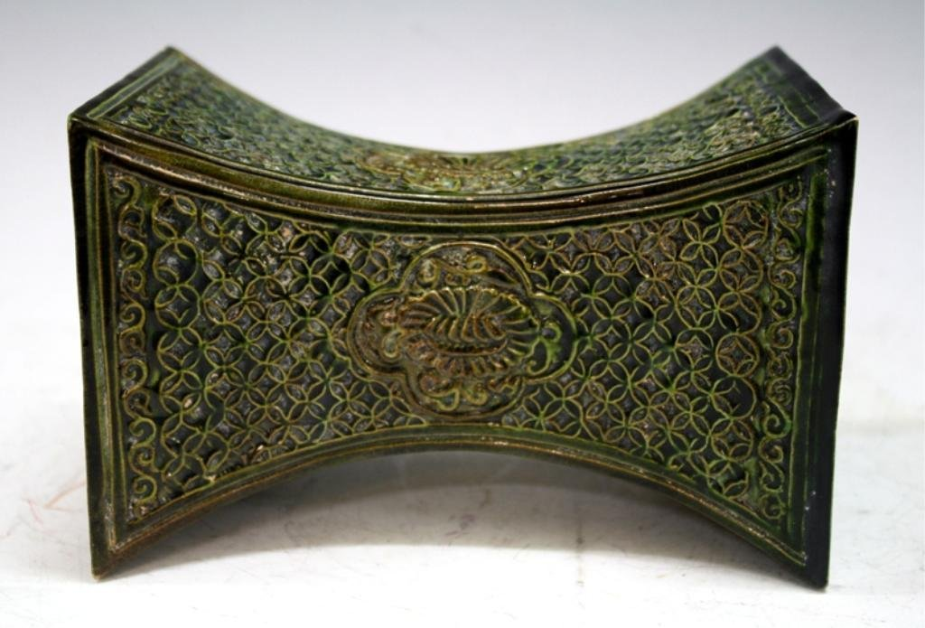 Chinese Green-Glazed Ceramic Pillow poss. Tang