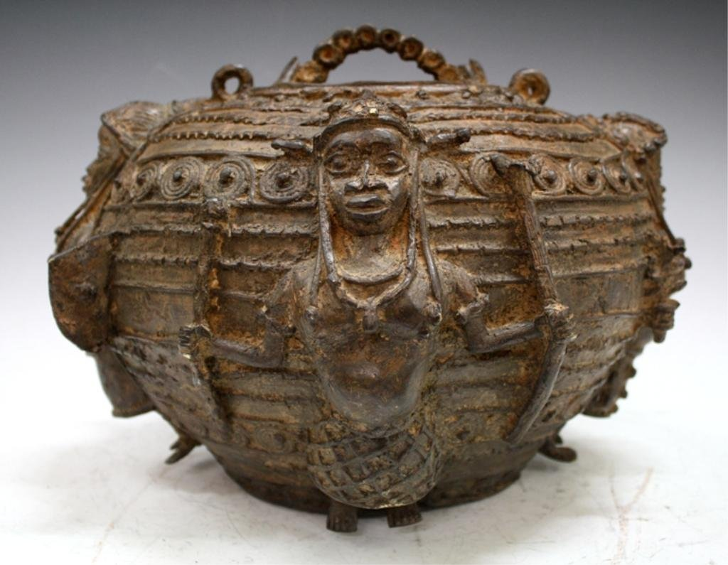 African Benin Bronze Medicine Pot with Cover
