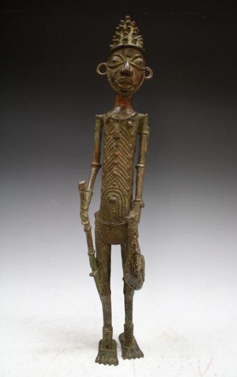 African Benin Bronze Yoruba Statue