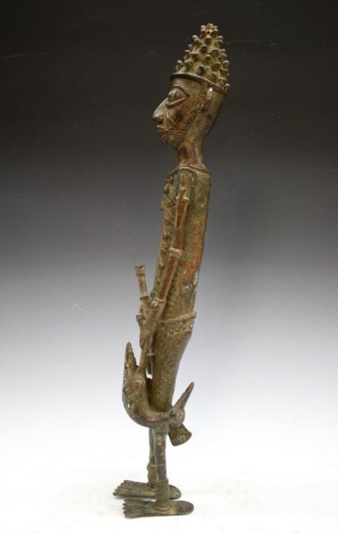 African Benin Bronze Yoruba Statue - 2