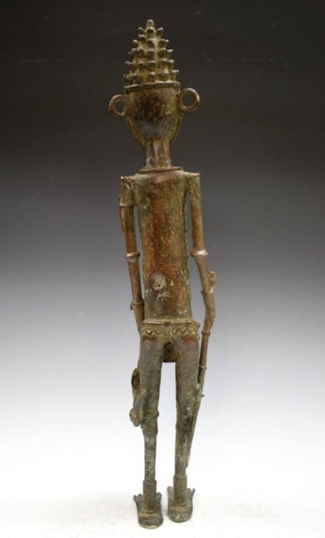 African Benin Bronze Yoruba Statue - 3