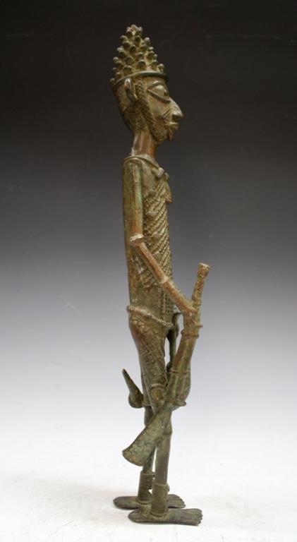 African Benin Bronze Yoruba Statue - 4
