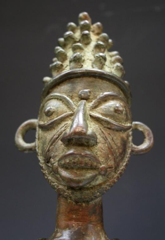 African Benin Bronze Yoruba Statue - 5