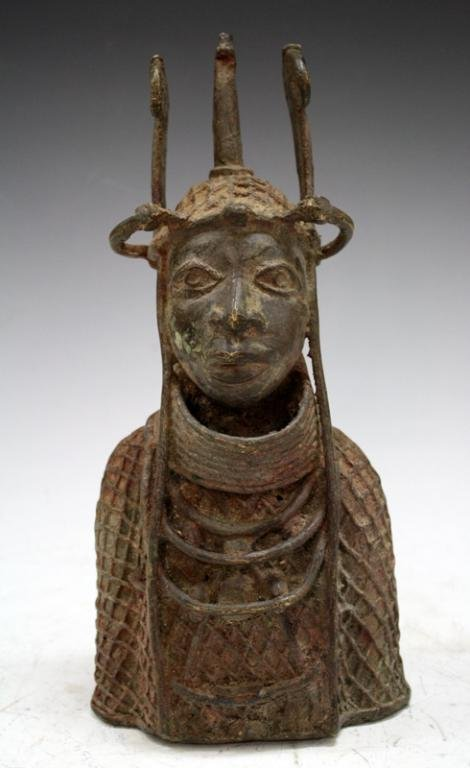 African Benin Bronze Bust of Warrior