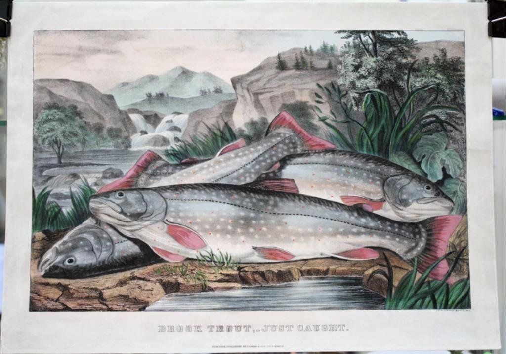 """""""Brook Trout-Just Caught"""" Hand Colored Print, 1850"""