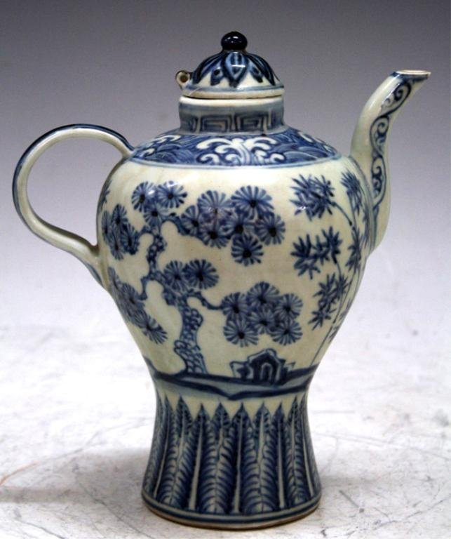 Chinese Blue & White Pitcher, poss Ming Dynasty