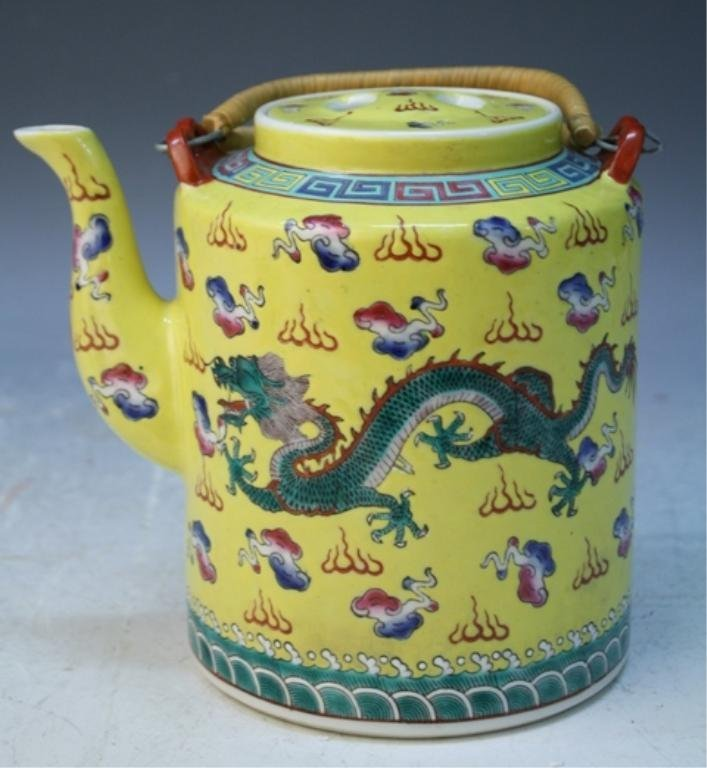 Chinese Yellow Ground Teapot with Dragons