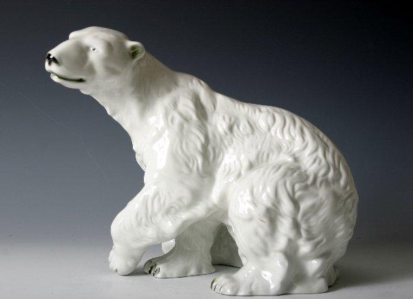 14: Large Royal Dux Porcelain Figure of Polar Bear