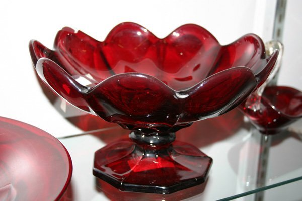 17: Ruby Glass Compote with Scalloped Rim