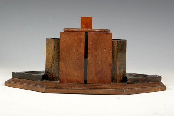 21: French Art Deco Pipe Holder with various Wood.