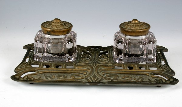 22: English Nouveau Inkwell with original glass...