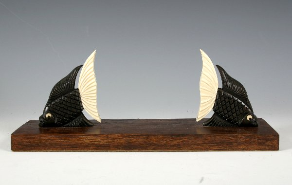 23: Art Deco Ebony and Bone Fish Frame