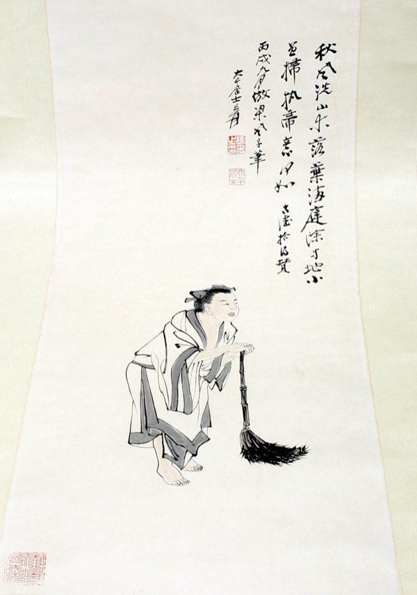 506: A Chinese Scroll Painting of an Old Man 20th C.