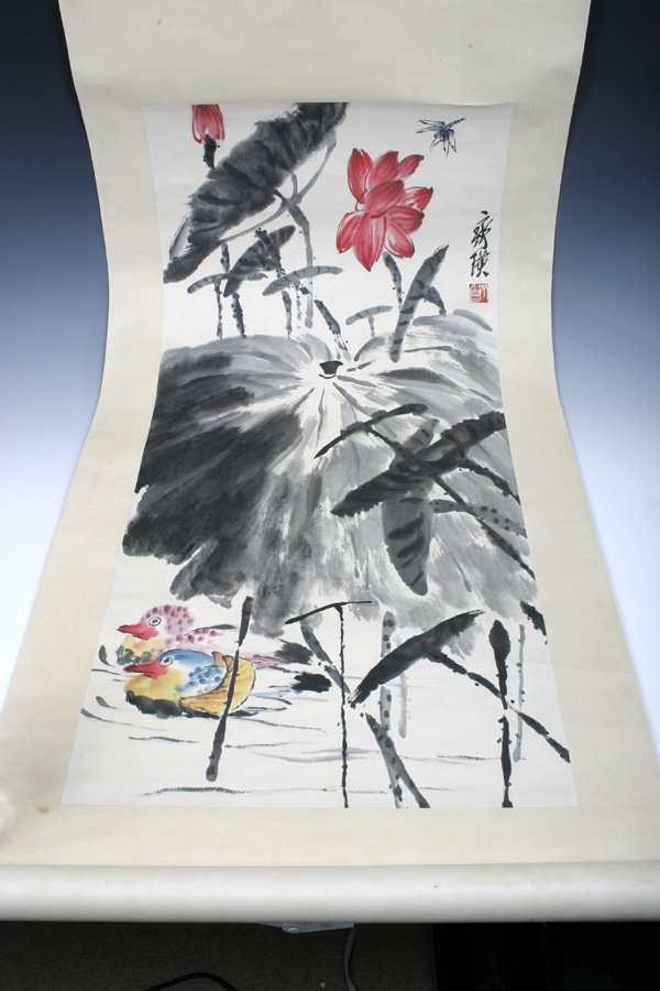 507: A 20th C. Chinese Scroll Painting of Lotus & Ducks