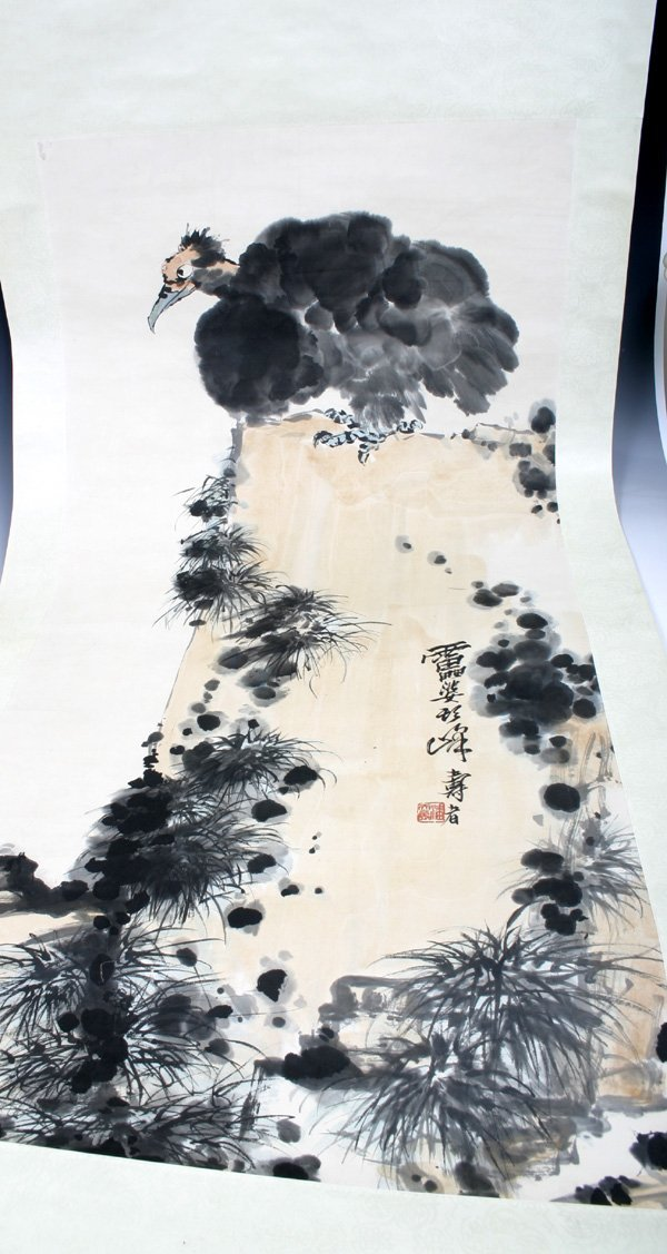 508: A 20th C. Chinese Scroll Painting of a Vulture