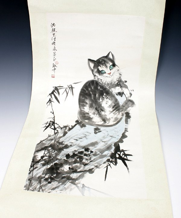 509: Chinese Scroll Painting of Cat, 20th C.