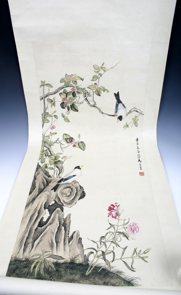 510: 20 C. Chinese Scroll Painting of Bird & Flowers