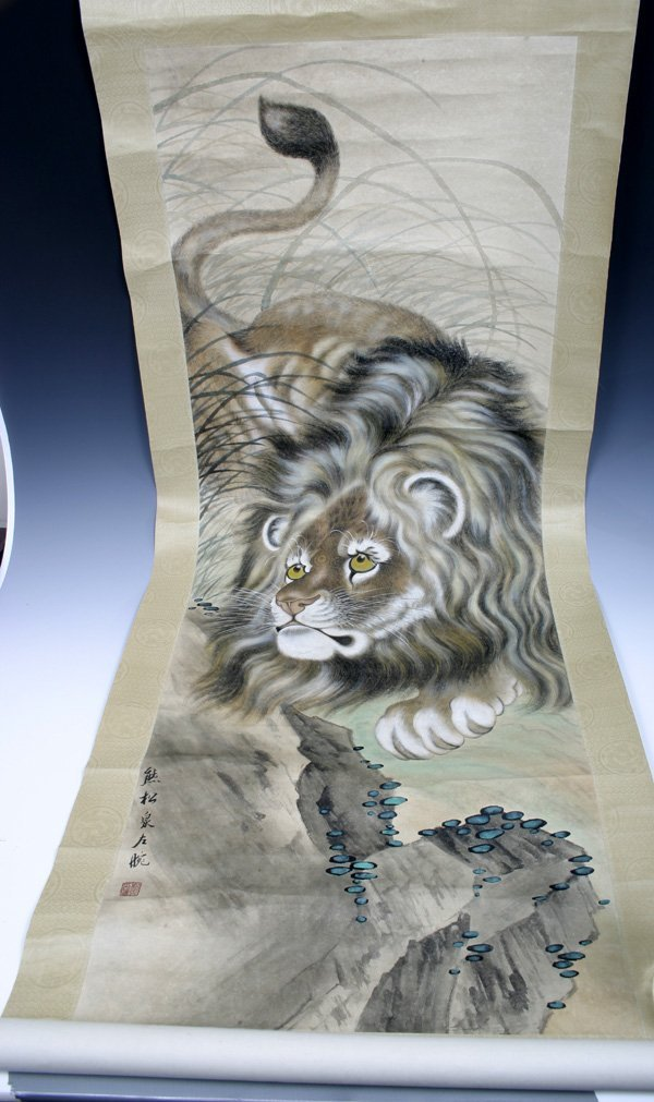 512: Excellent 20C. Chinese Scroll Painting of a Lion