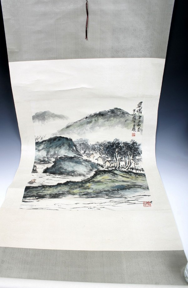 513: 20C. Chinese Scroll Painting of a Landscape