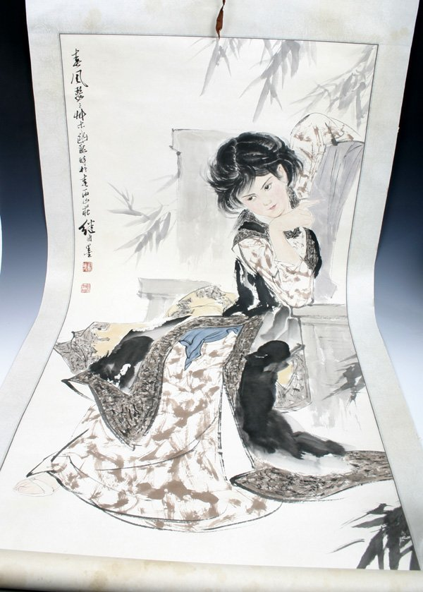 517: 20C. Chinese Scroll Painting of a Bautiful Lady