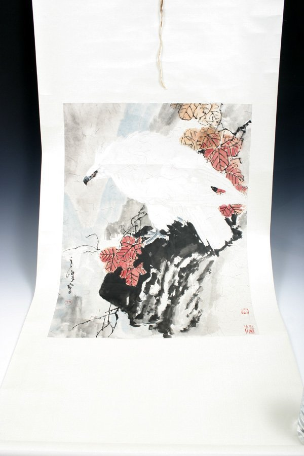 518: 20C. Chinese Scroll Painting of eagle.